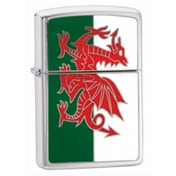 Zippo Wales Flag Emblem Brushed Chrome Windproof Lighter