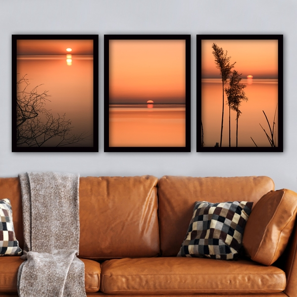 3SC55 Multicolor Decorative Framed Painting (3 Pieces)