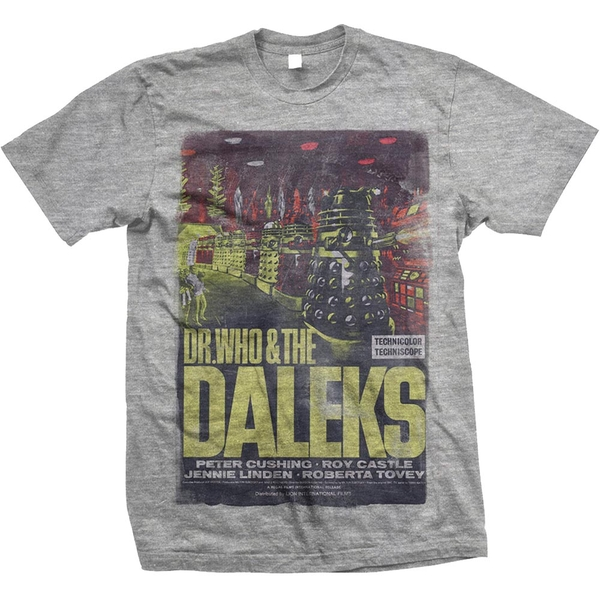 StudioCanal - Doctor Who & The Daleks Unisex Small T-Shirt - Grey