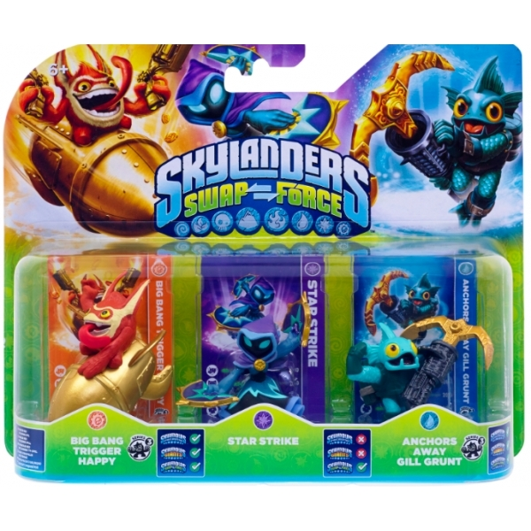 Trigger Happy, Star Strike, and Gill Grunt (Skylanders Swap Force) Triple Character Pack - Image 1