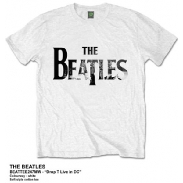 The Beatles Drop T Live In DC Mens White Tshirt: Medium