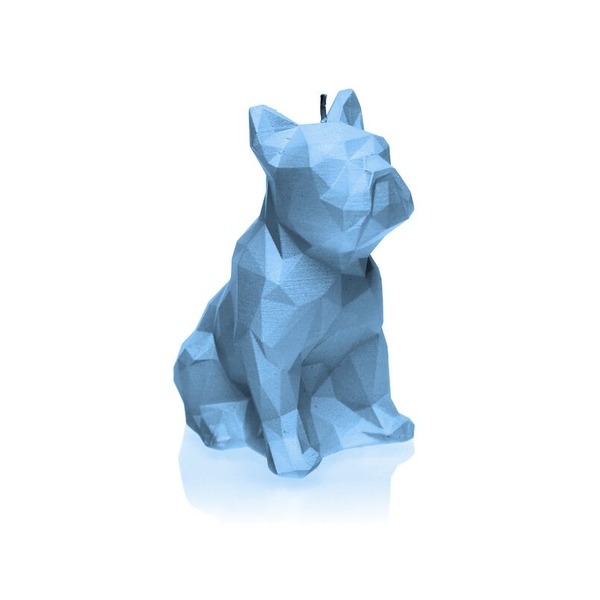 Light Blue Low Poly Bulldog Candle