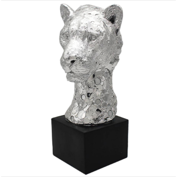 Silver Art Cheetah Bust Figurine By Lesser & Pavey