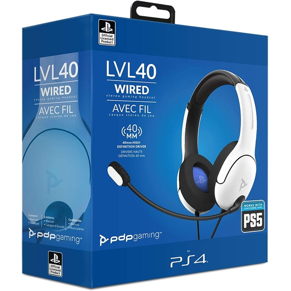 White LVL40 Stereo PDP Headset for PS4 & PS5
