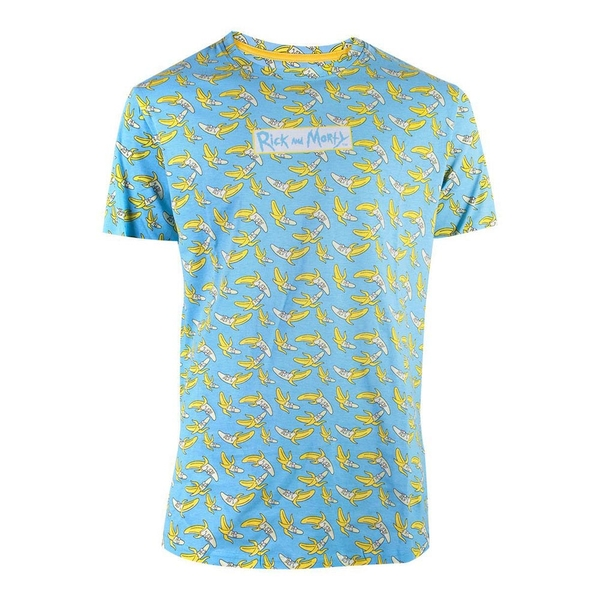 Rick And Morty - Banana All-Over Print Men's X-Large T-Shirt - Blue