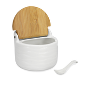 Ceramic Sugar Pot with Lid & Spoon | M&W