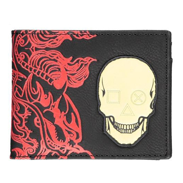 Sony - Playstation Skull Badge with All-Over Japanese Print Male Bi-fold Wallet - Black