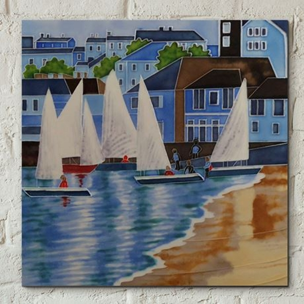 Tile 8x8 Sailboats By J. Yates Wall Art