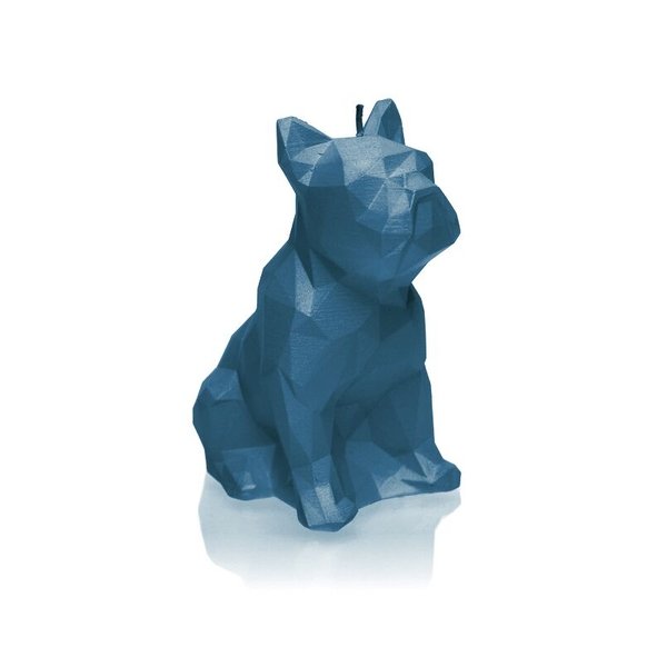 Dark Blue Low Poly Bulldog Candle