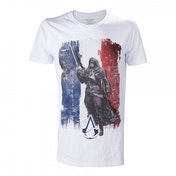ASSASSIN'S CREED Unity French Tricolour Flag Medium T-Shirt, Adult Male, Medium White