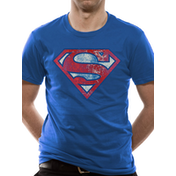 Superman - Logo Very Distressed Men's Large T-Shirt - Blue
