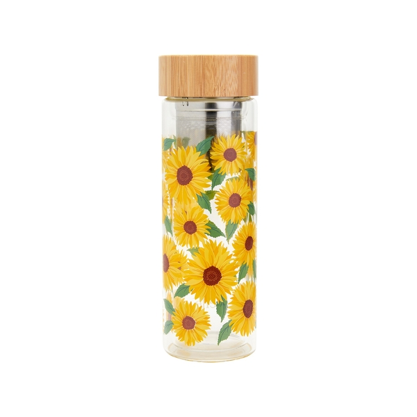Sass & Belle Sunflowers Glass Water Bottle with Infuser