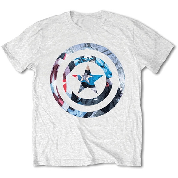 Marvel Comics - Captain America Knock-out Unisex Large T-Shirt - White