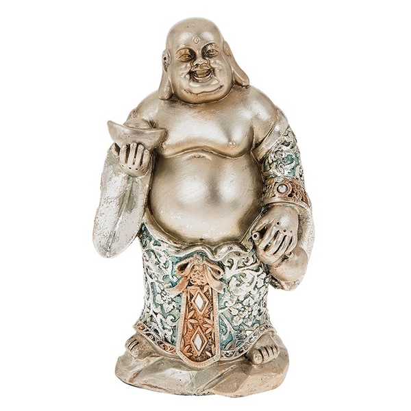 Happy Blue Buddha Standing Small Ornament