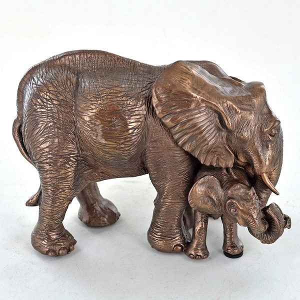 Mother and Baby Elephant Cold Cast Bronze Sculpture 10cm