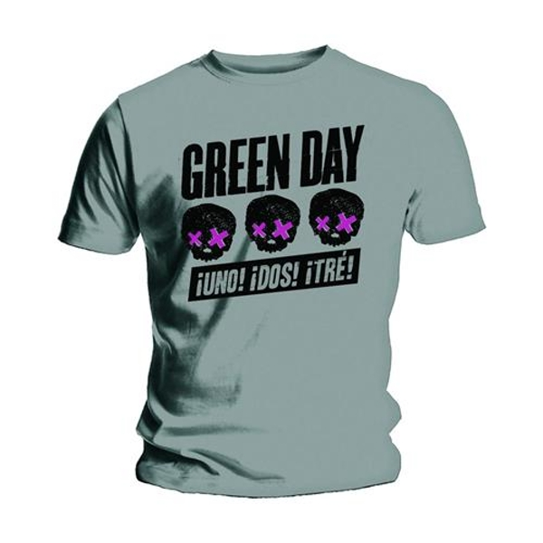Green Day - Three Heads Better Than One Unisex Small T-Shirt - Grey