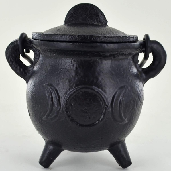 Triple Moon Cast Iron Witch Cauldron (Small)