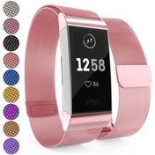 YouSave Milanese Metal Strap - Rose Pink compatible with Fitbit Charge 3