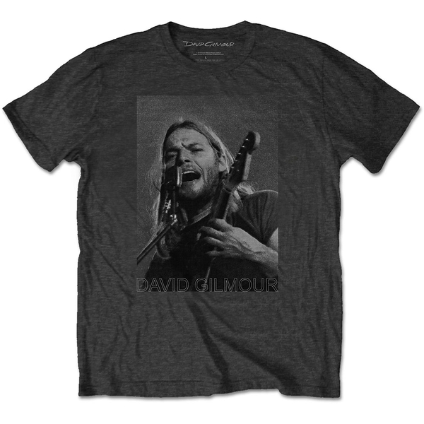 David Gilmour - On Microphone Half-tone Men's Medium T-Shirt - Charcoal Grey