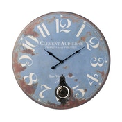 Vintage Wooden Blue Pendulum Wall Clock