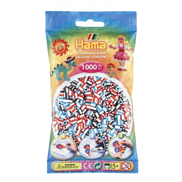Hama - 1000 Beads in Bag (Blue, Black & Red Striped Mix)