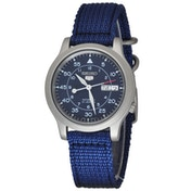 Seiko 5 Mens Automatic Watch Blue Dial with Blue Fabric Belt SNK807K2