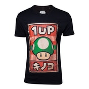 Super Mario Bros - 1UP Mushroom Poster Men's X-Large T-Shirt - Black