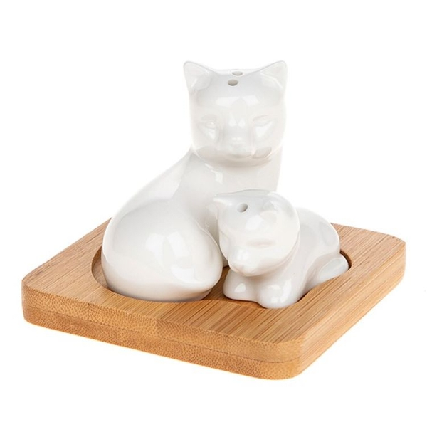 White Bamboo Cat Kitten Cruet Set