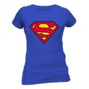 DC COMICS Women's Superman Logo Fitted T-Shirt, Small, Blue