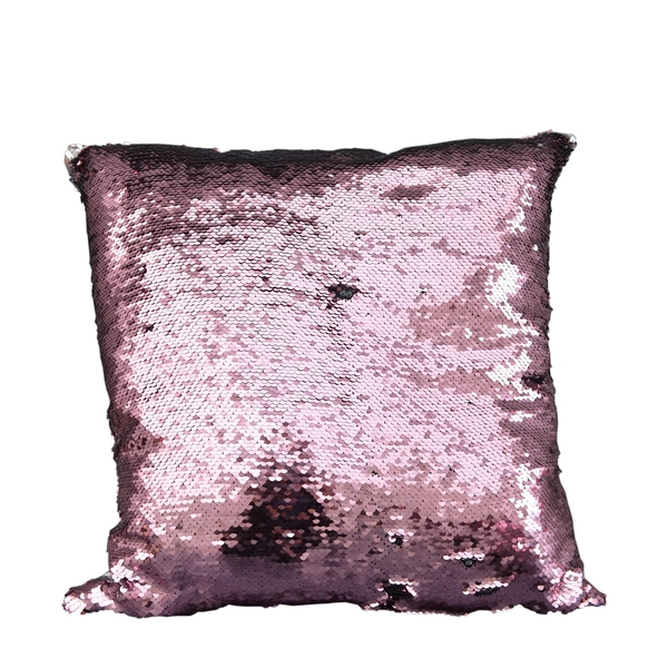 Sequin Covered Large Cushion Cover Silver and Pink 45cm