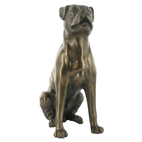 Boxer Dog Sitting Cold Cast Bronze Sculpture 23cm