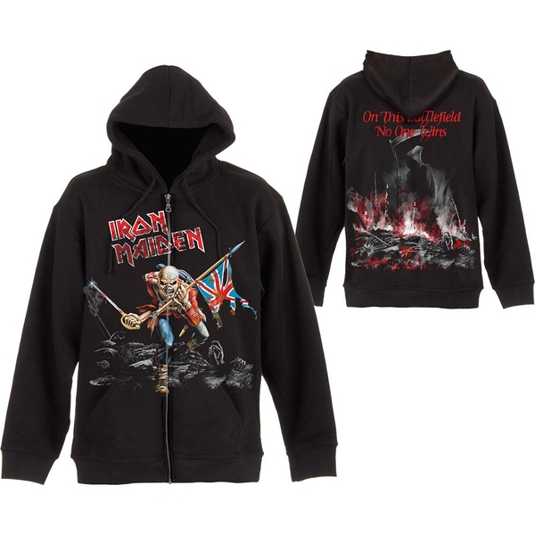Iron Maiden - Scuffed Trooper Unisex Small Zipped Hoodie - Black