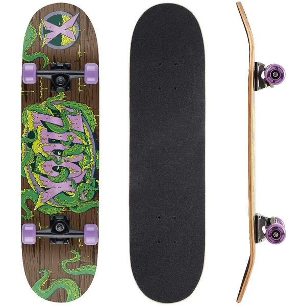 Xootz Kids Complete Beginners Double Kick Trick Skateboard Maple Deck - 31 x 8 Inches Tentacles