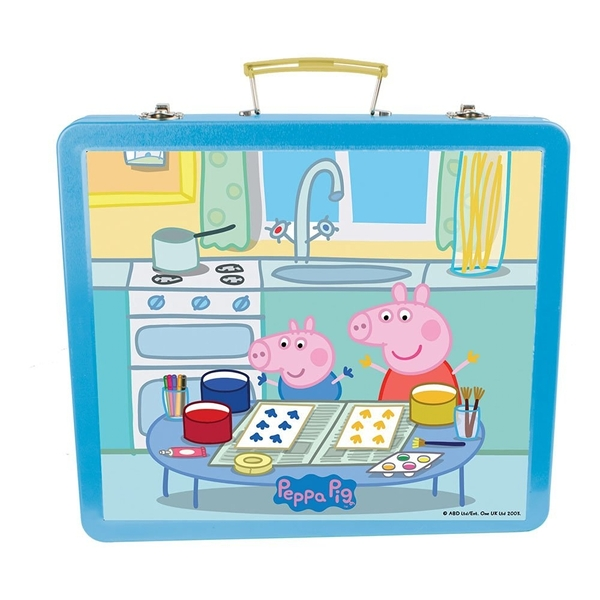 Peppa Pig Art Tin Case with 60pc Creative Accessories Kit - Image 1