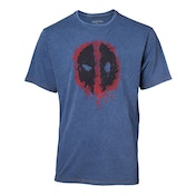 Deadpool - Graffiti Mask Faux Denim Men's XX-Large - T-Shirt - Blue