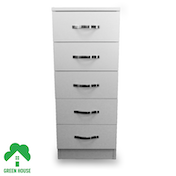 Wooden Chest of Drawers, Bedside Cabinet Bedroom Furniture Green House 5 Drawer Narrow Chest White