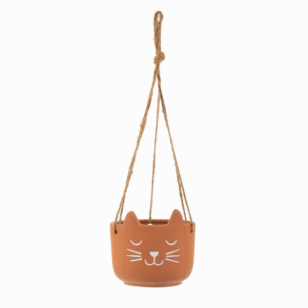 Sass & Belle Whiskers Terracotta Hanging Planter