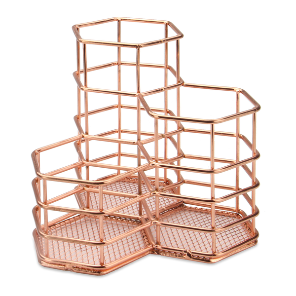 Rose Gold Hexagonal Desk Tidy | M&W