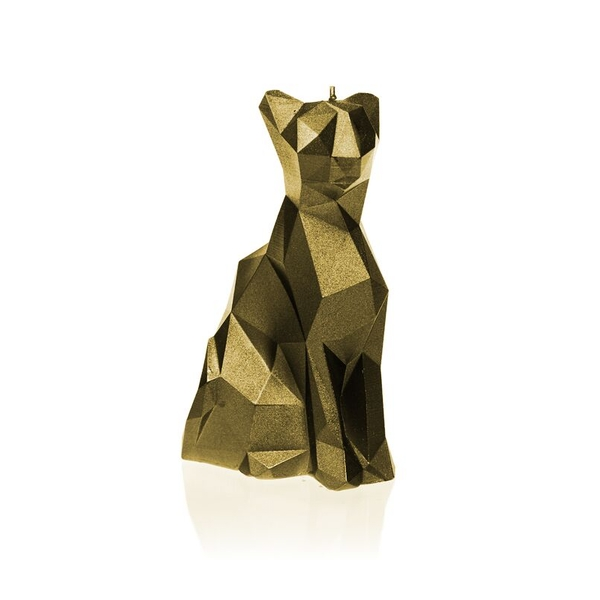 Classic Gold Low Poly Cat Candle