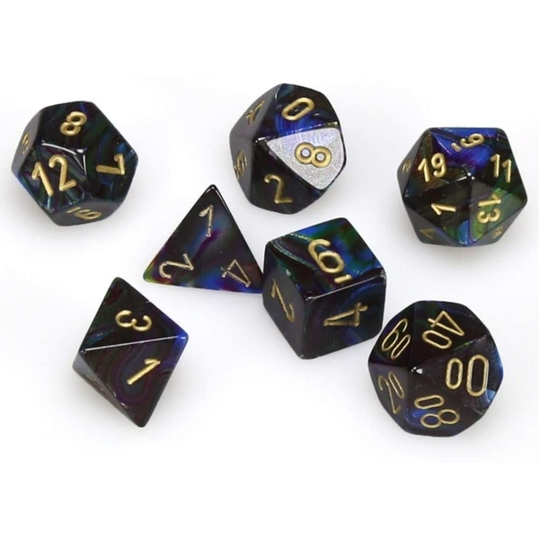 Chessex Poly 7 Set: Lustrous Shadow/gold