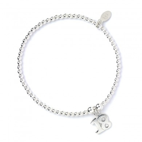 18 charm with Sterling Silver Ball Bead Bracelet