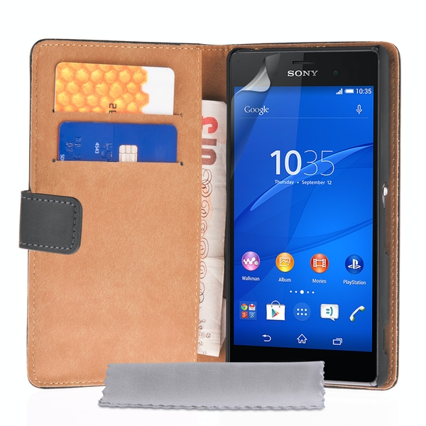 Caseflex Sony Xperia Z3 Real Leather Wallet Case - Black - Image 1