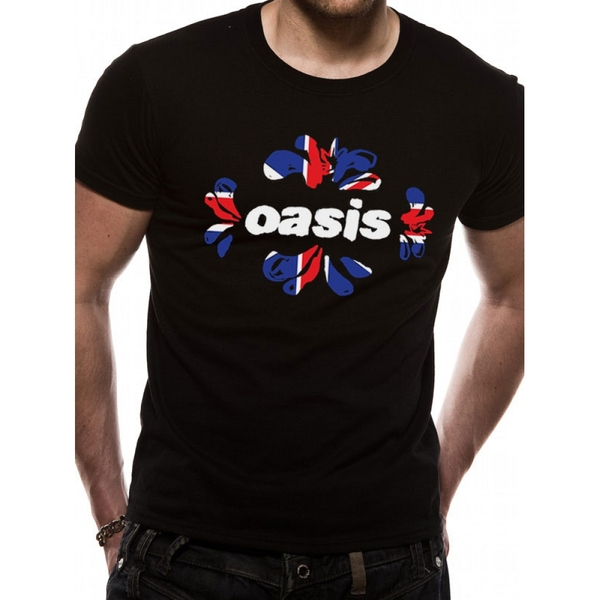 Oasis - Union Jack Unisex Medium T-Shirt - Black