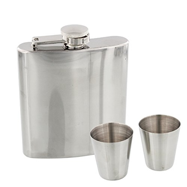 Harvey Makin Hip Flask - Plain Silver with Cups & Funnel