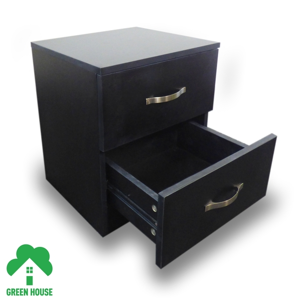 2 Chest Of Drawers Bedside Cabinet Black Dressing Table Bedroom Furniture Wooden Green House - Image 2