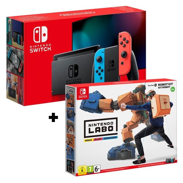 Nintendo Switch Console Neon Blue / Neon Red Joy-Con Controllers + Labo Toy-Con: Robot Kit - Image 1