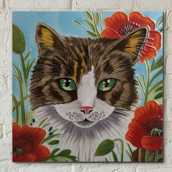 Tile 8x8 Poppy Patch Prowl By J Yates Wall Art