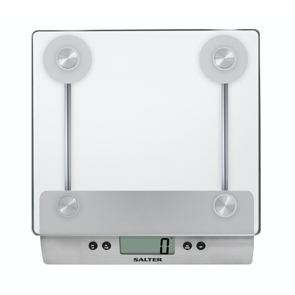 Salter Aquatronic Digital Stylish Glass Platform Silver Electronic Cooking Scale