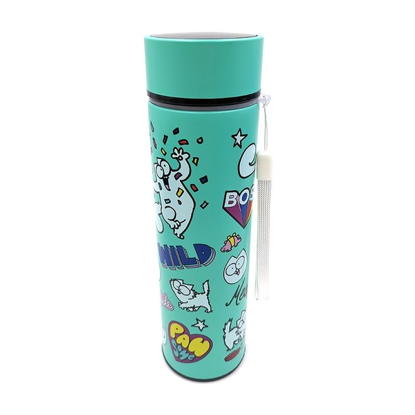 Simons Cat Reusable Stainless Steel Hot & Cold Thermal Insulated Drinks Bottle Digital Thermometer