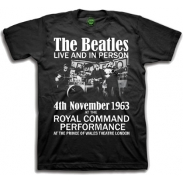 The Beatles Live and in Person Mens Blk TS: Small